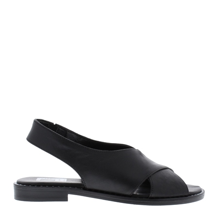 Farley Black Flat Sandals  - Click to view a larger image