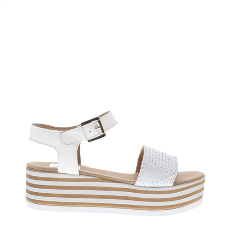 Fatima White Flatform Sandals  - Click to view a larger image