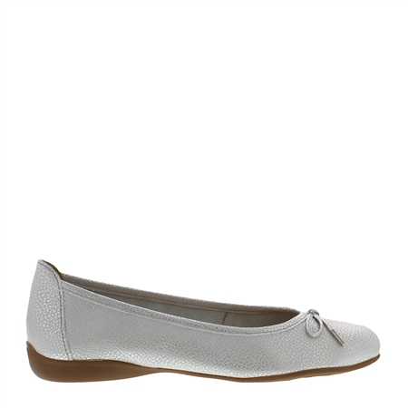Hosanna Silver Leather Flats  - Click to view a larger image
