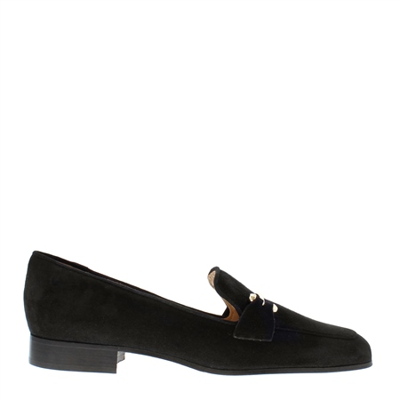 Felicity Black Suede Loafers