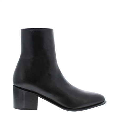 Mezara Black Leather Ankle Boots  - Click to view a larger image