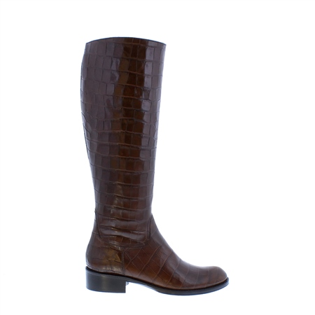 Kate Brown Croc Leather Boots  - Click to view a larger image