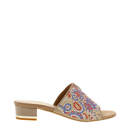 Divita Beige Beaded Mule  - Click to view a larger image