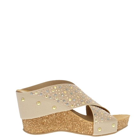 Donella Beige Wedge Sandals  - Click to view a larger image