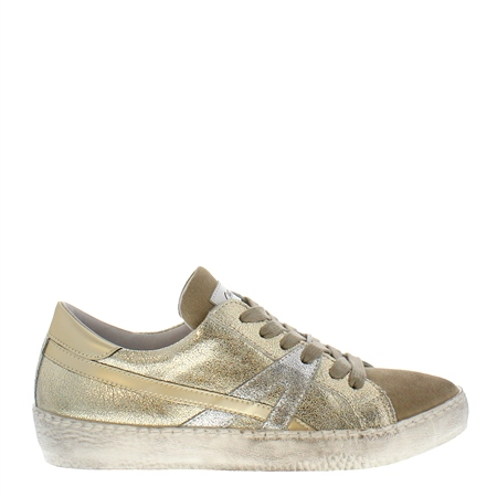 Porsha Gold Distressed Leather Trainers  - Click to view a larger image