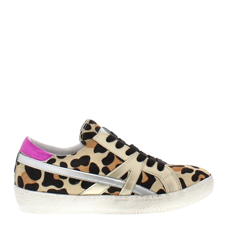 Porsha Leopard Print Distressed Leather Trainers  - Click to view a larger image