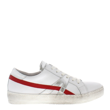 Porsha White Leather Distressed Trainers  - Click to view a larger image