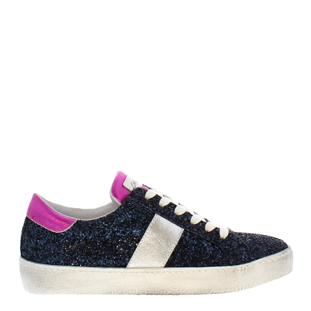 Primavera Navy Leather Trainers  - Click to view a larger image