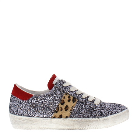 Primavera Pewter Leather Trainers  - Click to view a larger image