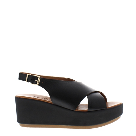 Edmara Black Wedge Sandals  - Click to view a larger image