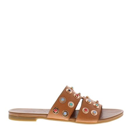 Eloisa Tan Studded Sandals  - Click to view a larger image