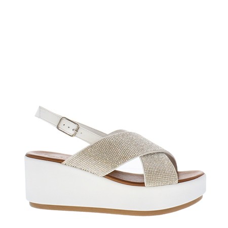 Escalia White Diamante Sandals  - Click to view a larger image