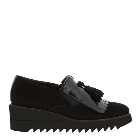 Stella Black Wedge Loafers  - Click to view a larger image
