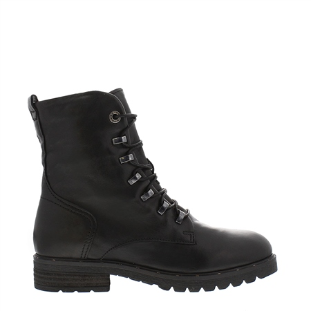 Astra Black Leather Lace Up Ankle Boots  - Click to view a larger image