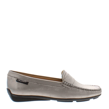 Bettina Pewter Leather Loafers 1