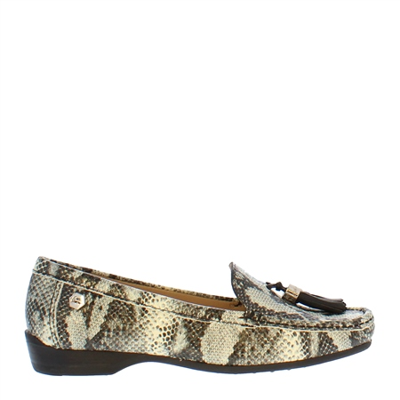Ines Snake Print Leather Loafers