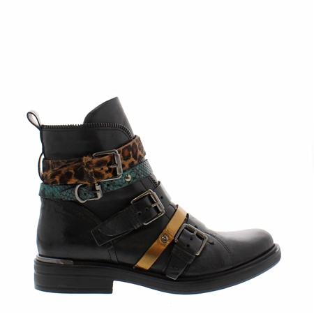 Ardella Black Leopard Ankle Boots  - Click to view a larger image