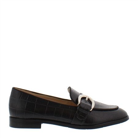 Iva Black Leather Loafers  - Click to view a larger image
