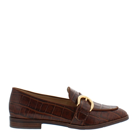 Iva Brown Croc Leather Loafers  - Click to view a larger image