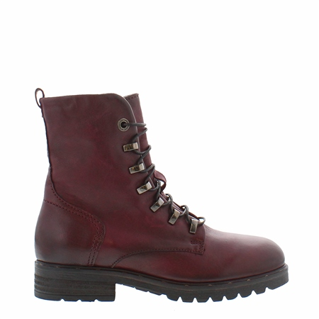 Astra Burgundy Lace Up Ankle Boots  - Click to view a larger image