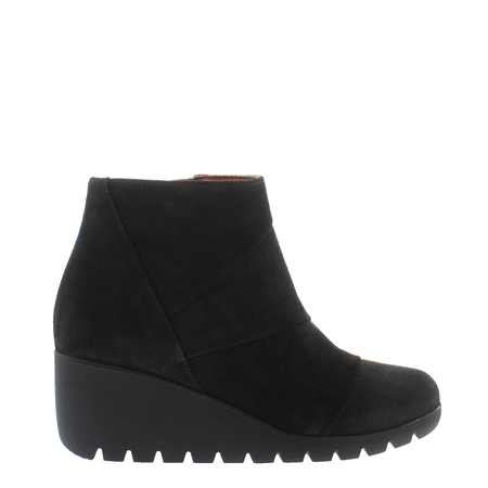 Halma Black Suede Wedge Ankle Boots  - Click to view a larger image