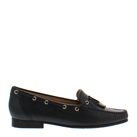 Irma Navy Leather Loafers