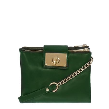 Fabiola Green Leather Crossbody Bag