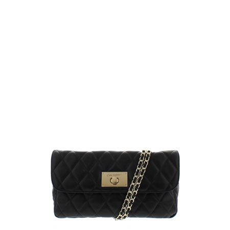 Felicia Black Leather Quilted Handbag  - Click to view a larger image