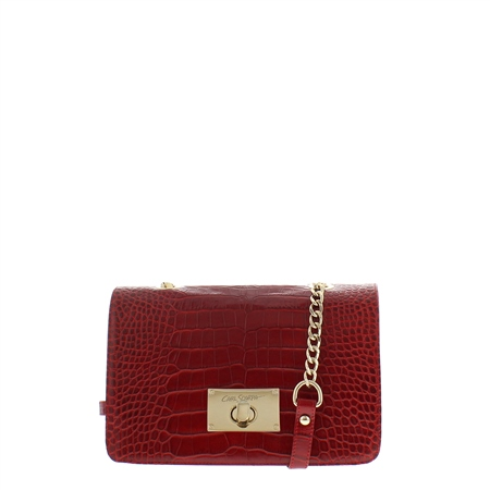 Fidela Red Croc-Print Handbag