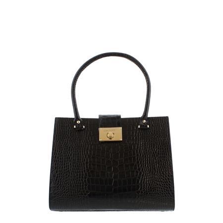 Fonda Black Croc-Print Handbag