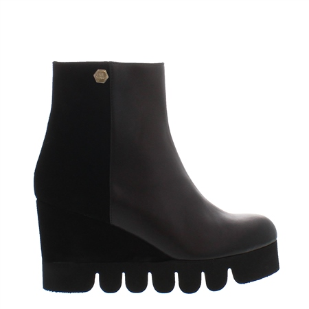 Marta Black Wedge Ankle Boots