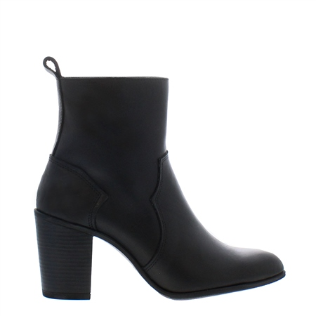 Alinda Black Leather Ankle Boots  - Click to view a larger image