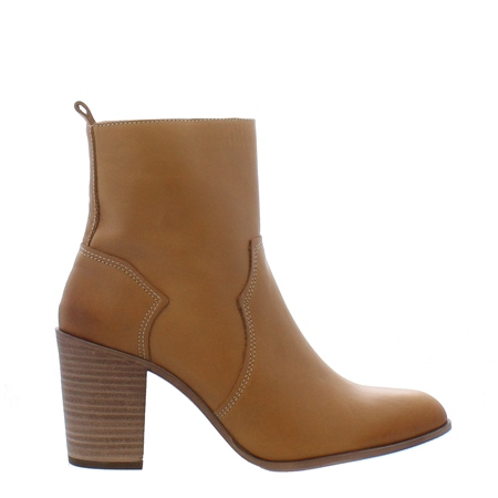 Alinda Tan Leather High Heel Ankle Boots  - Click to view a larger image