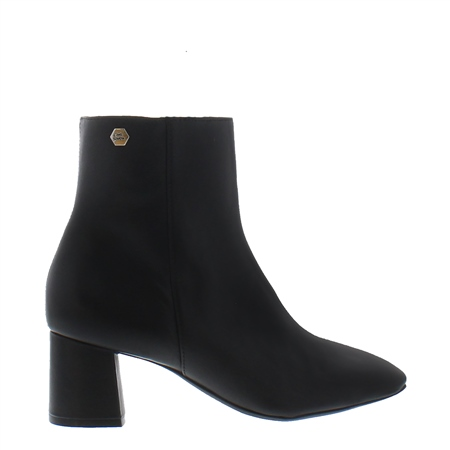 Elaine Black Leather Ankle Boots