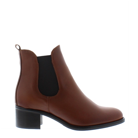 Jamila Tan Leather Ankle Boots  - Click to view a larger image