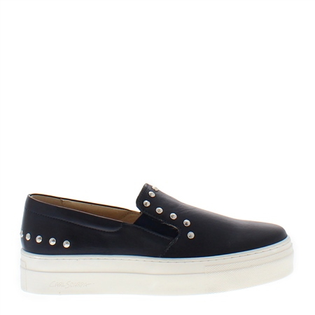 Petra Navy Leather Trainers  - Click to view a larger image