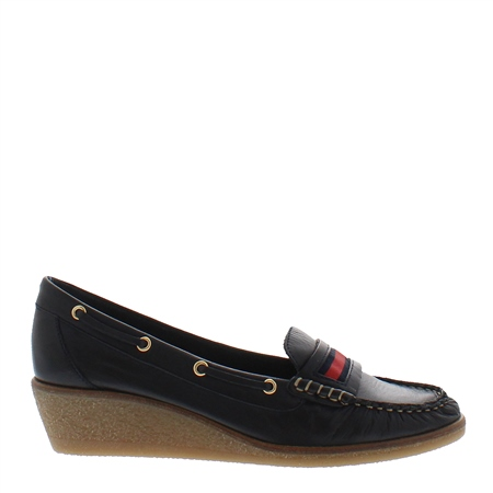 Remi Navy Leather Loafers