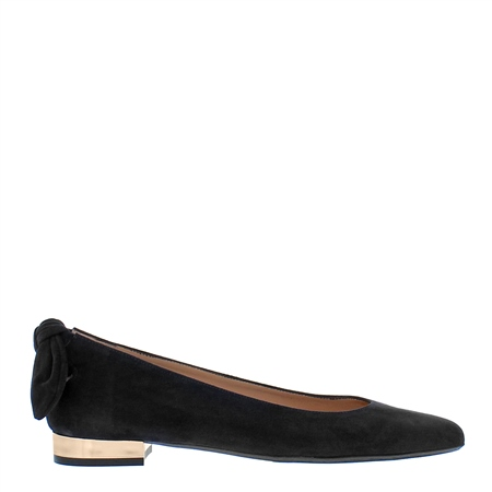 Amy Black Suede Flat Shoes