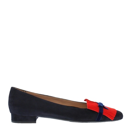 Annabelle Navy Suede Flat Shoes  - Click to view a larger image