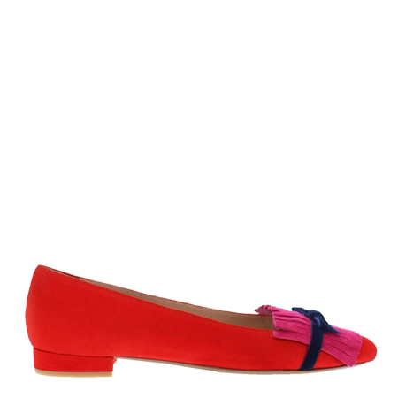 Annabelle Red Suede Flat Shoes  - Click to view a larger image