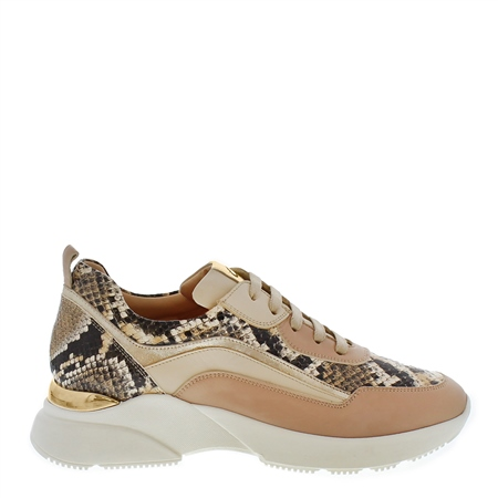 Adrianna Beige Snake Print Trainers  - Click to view a larger image