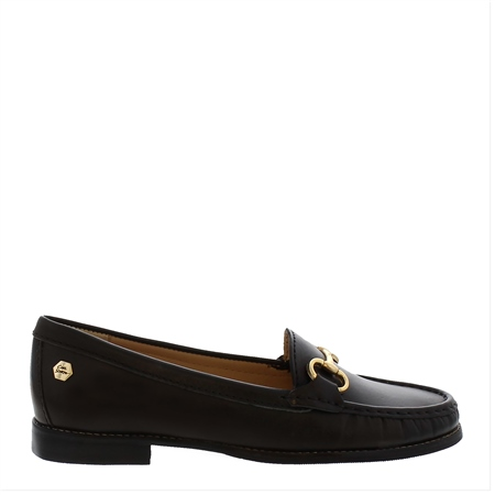 Aubree Black Leather Loafers  - Click to view a larger image
