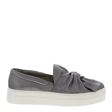 Maggie Chrome Leather Flatform Trainers  - Click to view a larger image