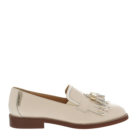 Layla Beige Patent Leather Loafers