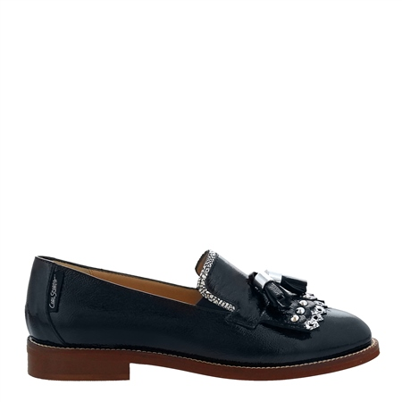 Layla Navy Patent Leather Loafers