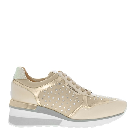 Alexandra Beige Wedge Trainers  - Click to view a larger image