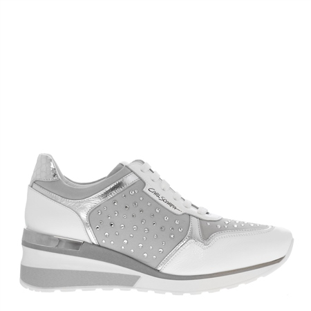 Alexandra White Wedge Trainers  - Click to view a larger image