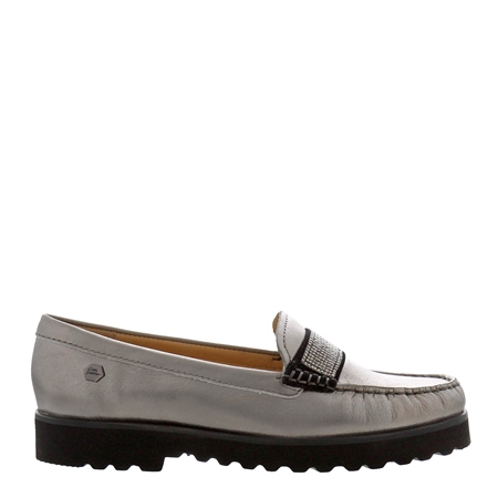 Bailee Pewter Leather Loafers  - Click to view a larger image