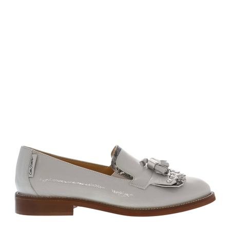 Layla Grey Patent Leather Loafers  - Click to view a larger image