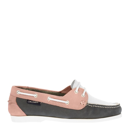 Rianna Navy and Pink Nubuck Boat Shoes  - Click to view a larger image